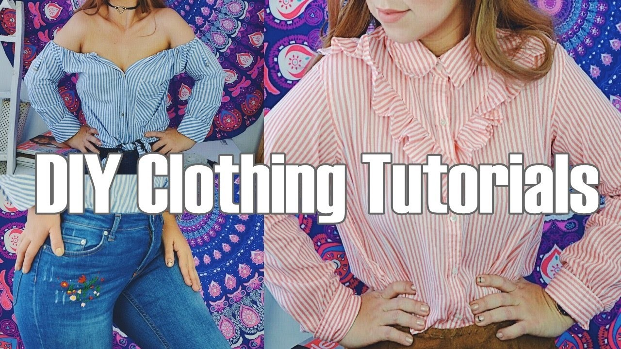 DIY DIY Clothing Tutorials Embroidered Jeans,  Off The Shoulder Top  and  Ruffle Bottom Crop Top