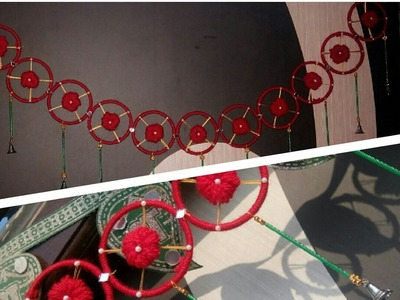 DIY.  Door hanging toran, recycling old Bangles, door decoration, yarn flowers decoration ????
