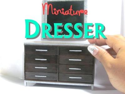 DIY Dresser and Mirror Dollhouse Furniture Miniature Furniture Wood Faux Granite
