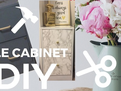 DIY filing White and Gray Marble Cabinet