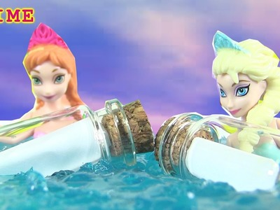 DIY Frozen Elsa Anna Message In A Bottle Slime Beach Fantasy Scene by Rainbow Collector