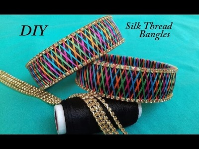 DIY || how to make designer silk thread bangles at home || DIY silk thread bangles making
