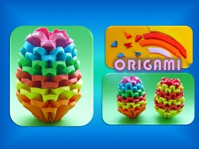 DIY Origami (Modular) Regenbogen Osterei 3D Geschenk zu Ostern, RAINBOW EASTER EGGS EASY GIFT IDEAS