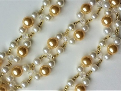 DIY Pearl Bracelet (Necklace). Easy beading pattern for beginners