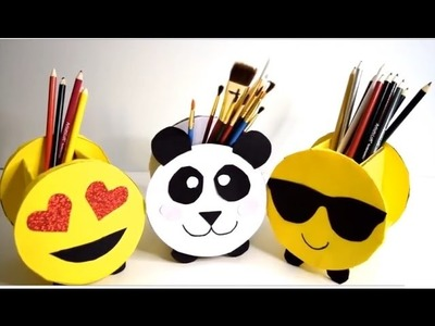 {DIY} Pencil Holders Emoji and Panda   Cardboard Storage