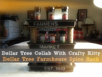 Dollar Tree Collab With Crafty Kitty Dollar Tree Farmhouse Spice Rack DIY