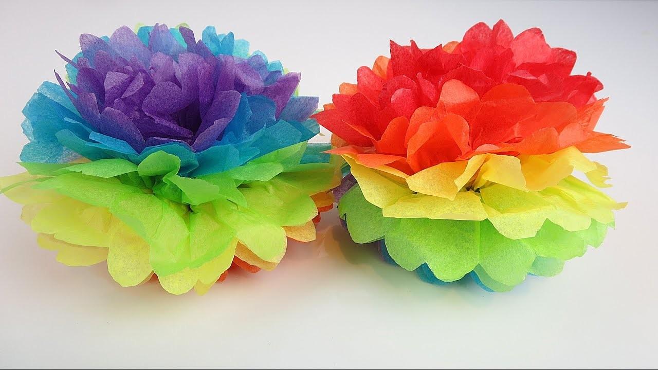 how to make tissue paper pom pom flowers