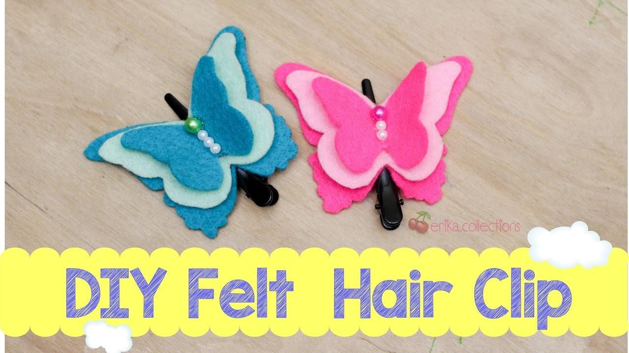 Easy DIY Felt Butterfly Hair Clip tutorial