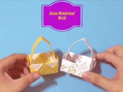 Easy Origami How to Make Paper Basket 简单手工折纸  菜篮.簡単折り紙 バスケット です