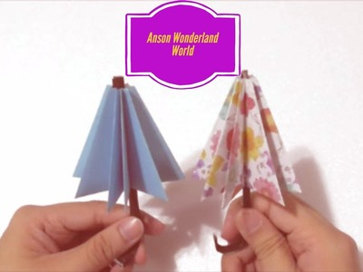 Easy Origami How to Make Paper Umbrella 简单手工折纸 雨伞 .簡単折り紙 伞 です