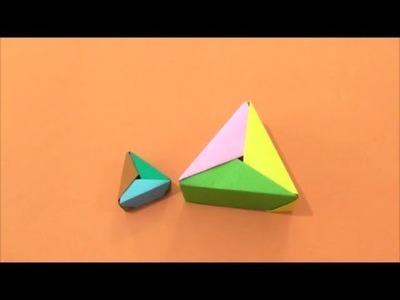 Easy Origami How to make Triangle Box 简单手工折纸  三角型盒子.簡単折り紙 三角型ボックスです