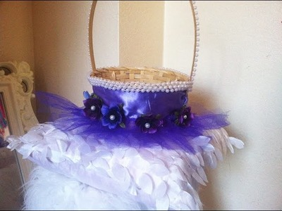 Flower girls basket or Easter basket  in beautiful purple.DIY Easter basket.Fun craft.