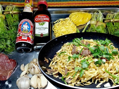 Garlic Noodles Recipe, How to make Khmer Garlic Noodles Healthy food, Yummy Yummy