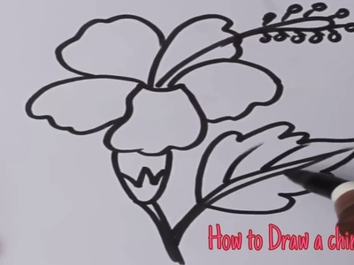 How to draw a China Rose : Art For kids.