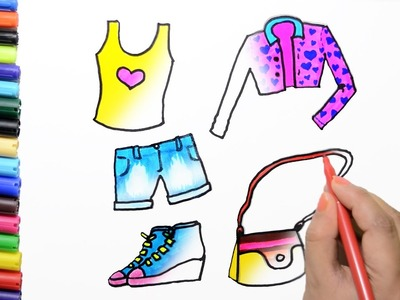 How to Draw Color Paint Pretty Dresses, Shoes, Handbag for Girls Coloring Page and Learn to Colors