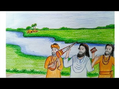 How to draw scenery of Lalon Geeti Step by step (very easy)