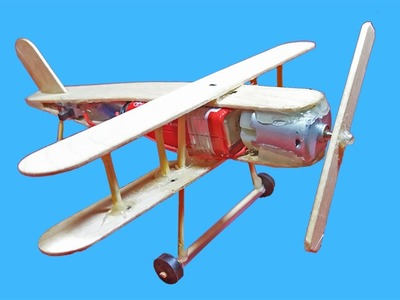 How to Make A Plane With DC Motor - Toy popsicle sticks Plane DIY