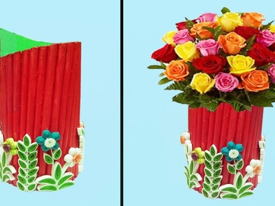 How To Make Beautiful Paper Flower Vase | Paper Quilling Art