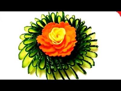 HOW TO MAKE CARROT FLOWER - CUCUMBER DESIGN GARNISH & VEGETABLE CARVING - ART IN CARROT