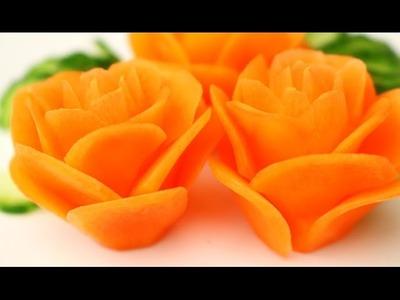 How to Make Carrot Rose Flowers - Vegetable Carving Garnish - Sushi Garnish - Food Decoration
