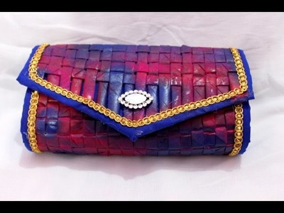 How to make clutch from old recycled newspaper at home I Women's handbags I Creative Diaries