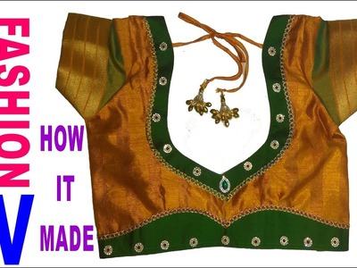 How to make Designer  Blouse at Home-40||Designer Bridal Back Neck Blouse Pattern - 2017||stitching