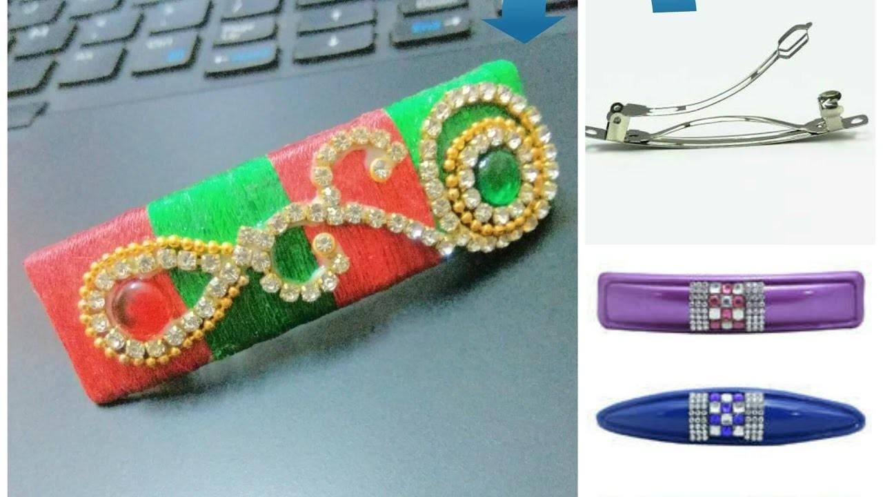 How to make Hair clip using silk thread from old hair clip - Tutorial