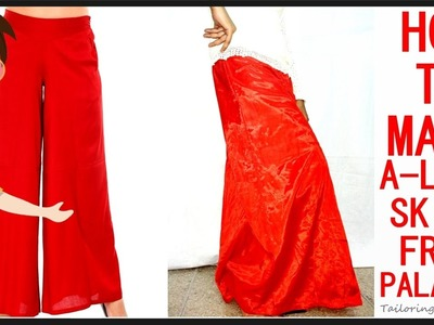 How To Make Long A-Line Skirt From Palazzo | Make Skirt From Palazzo | DIY - Tailoring With Usha