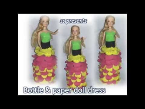 How to make plastic bottle and paper doll dress.kids crafts doll dress making at home