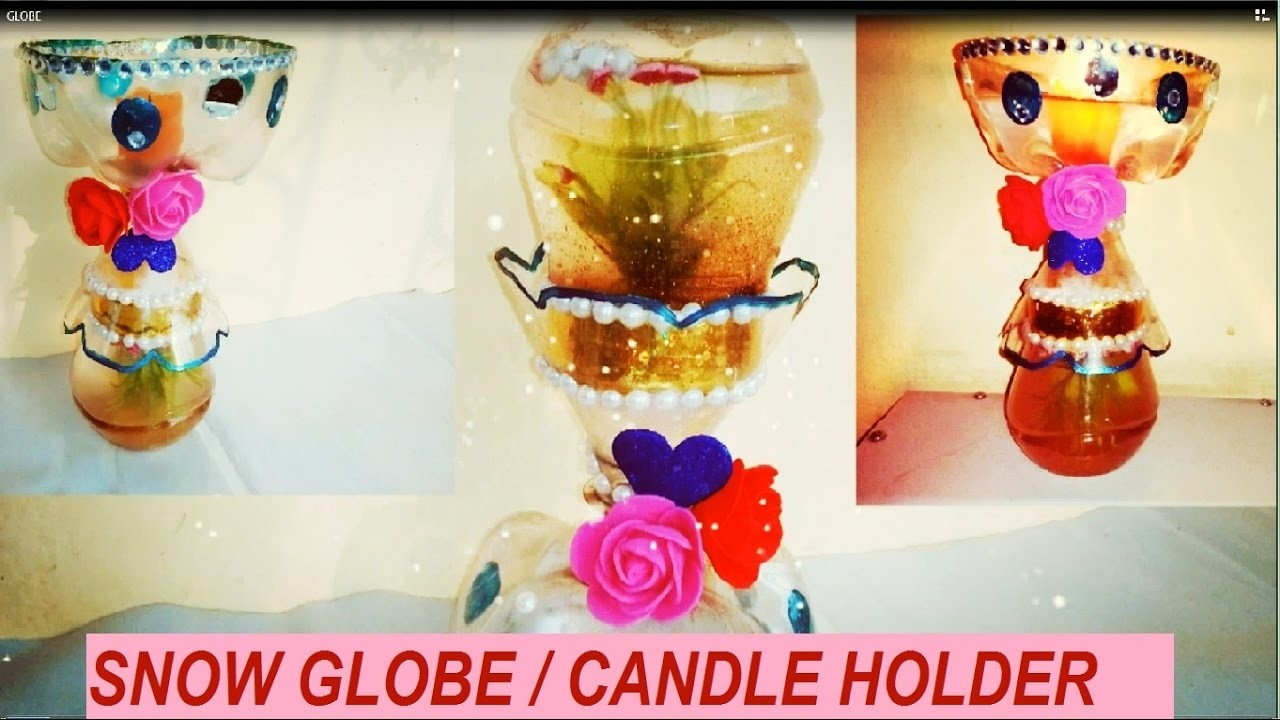 How to make snow globe with candle holder from plastic bottles | DIY waste Plastic bottle craft