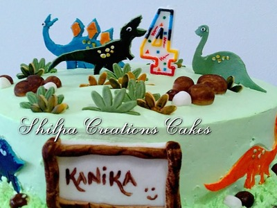 Learn how to decorate Eggless Dinosaur Chocolate Truffle Cake