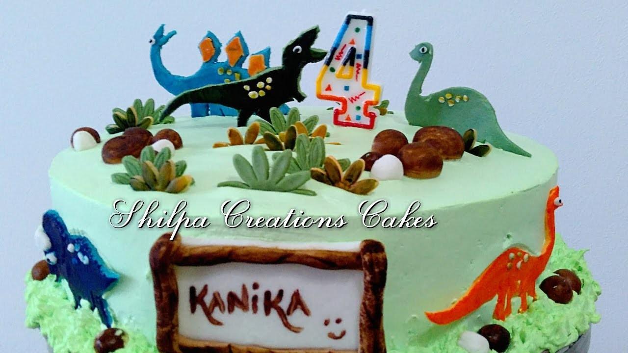 Learn how to decorate Eggless Dinosaur Chocolate Truffle Cake