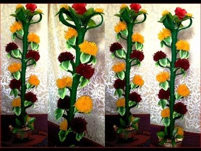 Merigold Genda flower plant making with wool threads DIY ऊन धागे के साथ गेंडा फूलों का पौधा
