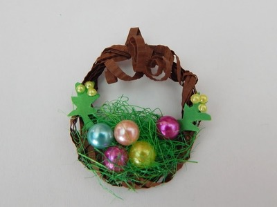 Miniature deco wreath DIY Doll house wreath Easter decoration papercraft