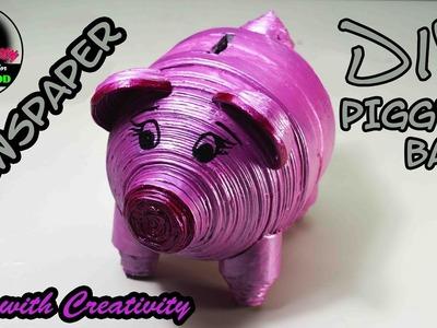 Newspaper PIGGY BANK | DIY | made with newspaper  | Art with Creativity 175