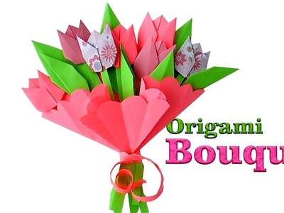 Origami Bouquet  How to make paper Tulips  Origami Flowers for Beginners