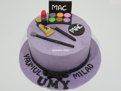 SIMPLE EASY! HOW TO DECORATE BIRTHDAY CAKE MAKEUP PURPLE
