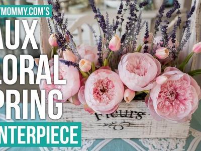 Spring DIY + Decor Challenge   Farmhouse Faux Floral Spring Centerpiece