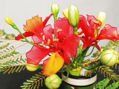 Tập 11: Làm HOA PHƯỢNG bằng vải voan - How to make Flamboyant stocking flower