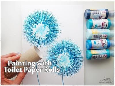 Toilet Paper Rolls Dandelion Painting Technique for Beginners ♡ Maremi's Small Art ♡