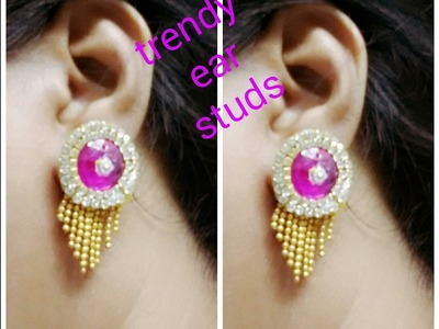 Trendy ear studs making with paper or canvas cloth
