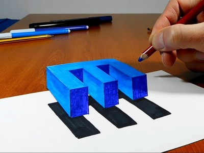 Try to do 3D Trick Art on Paper, floating letter E