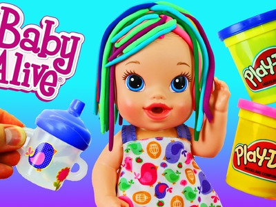 Baby Alive Sips 'n Cuddles Newborn Baby Doll Gets Play Doh Hair & Sticker Bottle DisneyCarToys