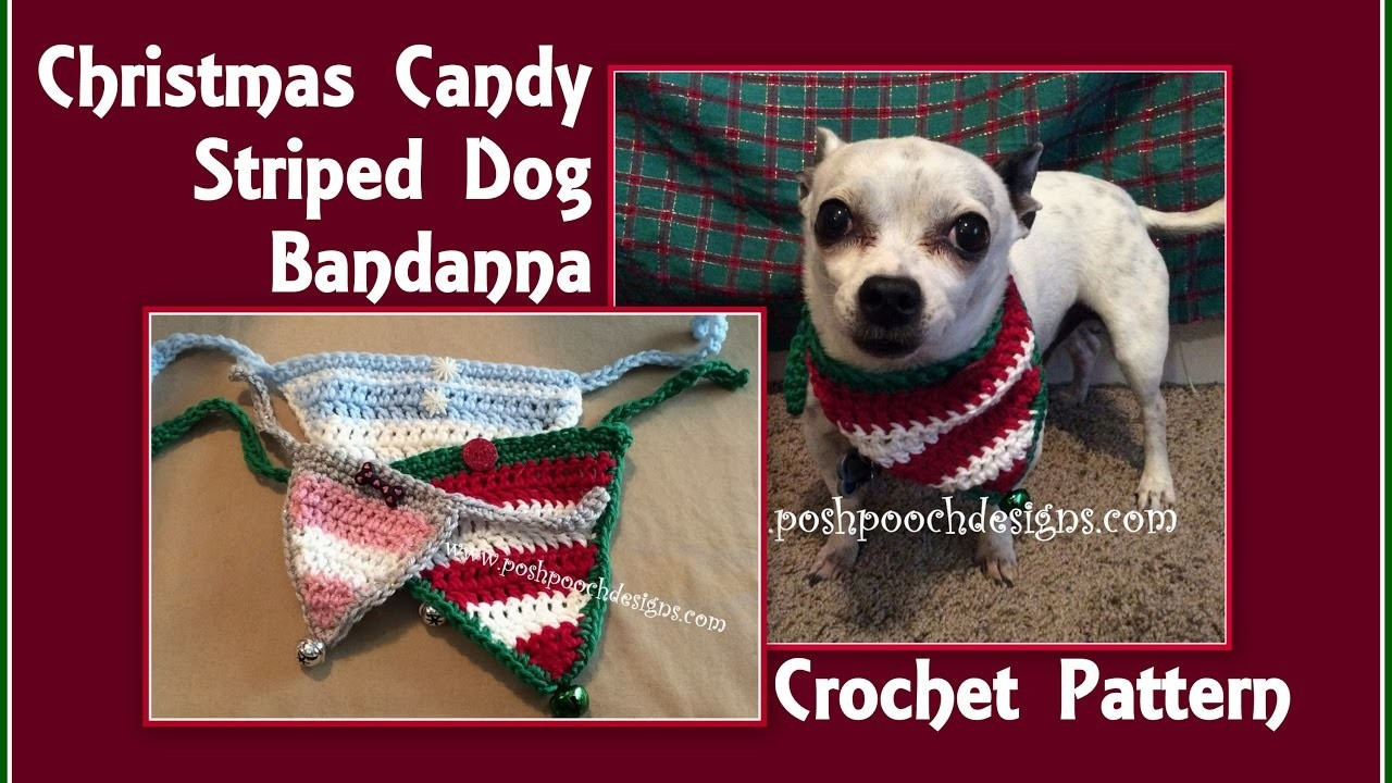 Christmas Candy Striped Bandanna Crochet Pattern