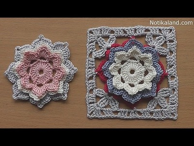 CROCHET How to crochet  Flower Granny Square Tutorial for baby blanket