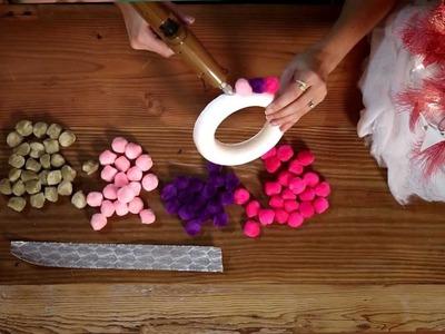 DIY Holiday Pompom Wreath - HGTV - Weekday Crafternoon