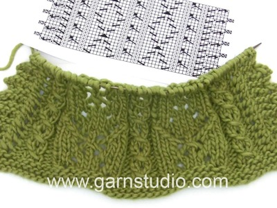 DROPS Knitting Tutorial:  How to work after a chart used in a beautiful shoulder piece