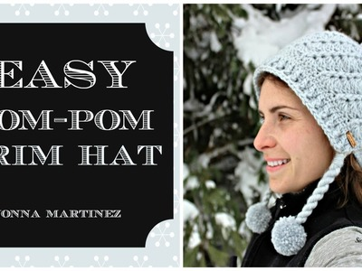 EASY Pom-Pom Brim Crochet Hat