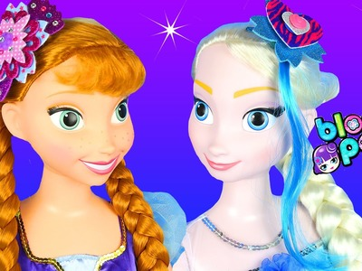 FROZEN ELSA ANNA LIFE SIZE DOLLS + BLOOM POPS Glitter Hair Flowers Bow Clip Headband Extensions