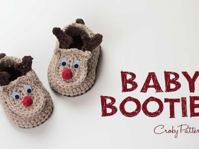 How to Crochet Reindeer Baby Booties Easy Tutorial | Croby Patterns